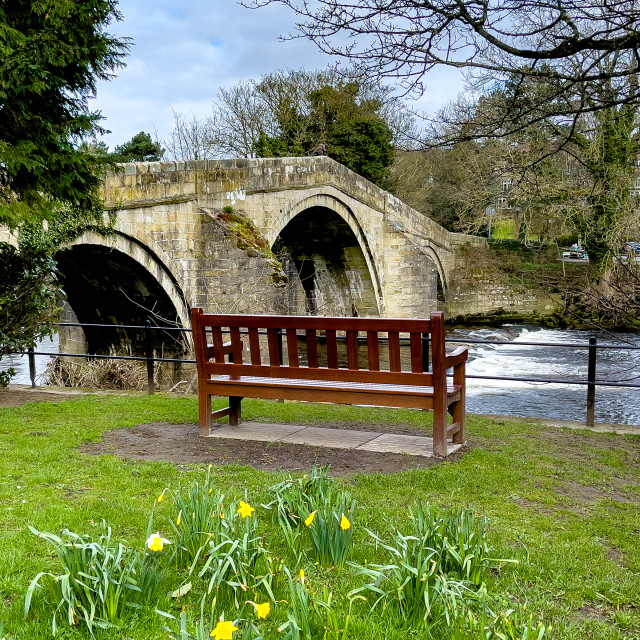 """The Old Bridge over the River Wharfe, Ilkley, Yorkshire, England."" stock image"