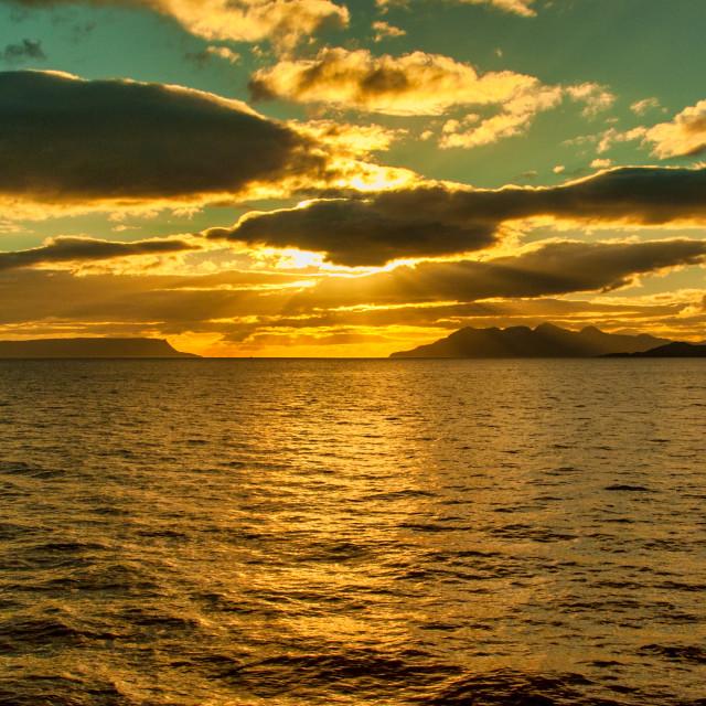 """Sunset over Eigg"" stock image"
