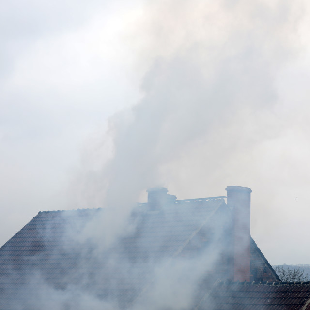 """""""Smoke from the chimney of your smog which is harmful to people"""" stock image"""