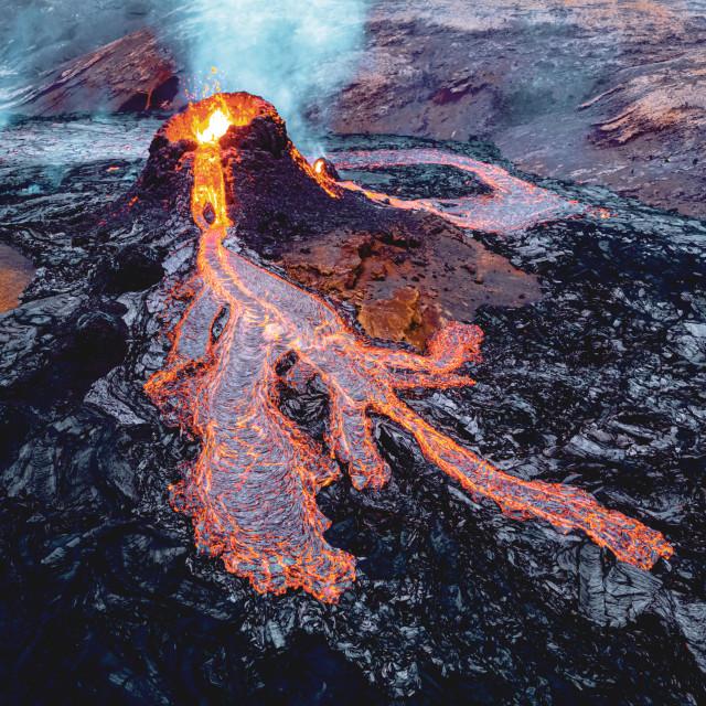 """Drone shot of the Fagradasfjall volcano"" stock image"