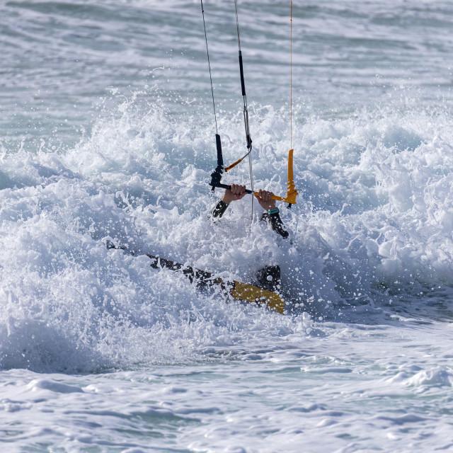 """""""Kite surfing, Kite boarding action photo in Spanish Costa Brava"""" stock image"""