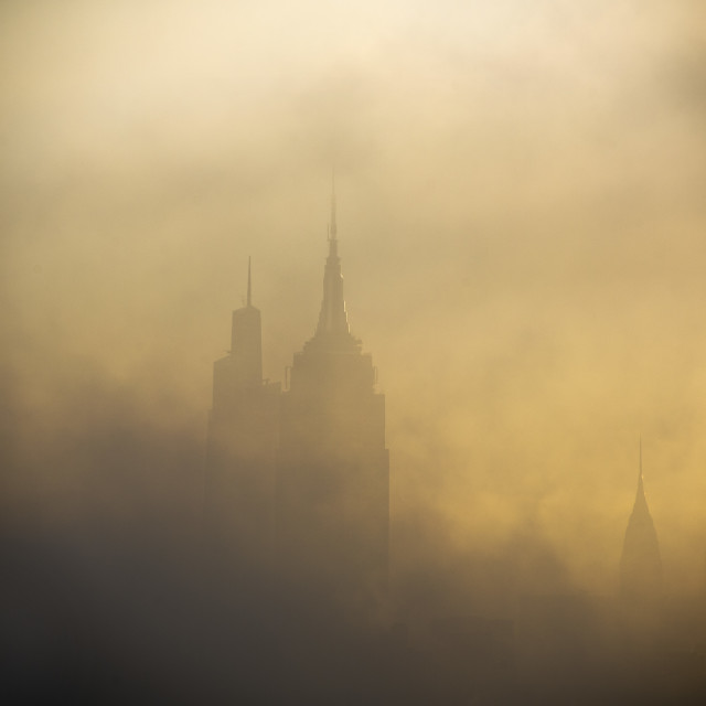 """""""Morning Fog over NYC"""" stock image"""