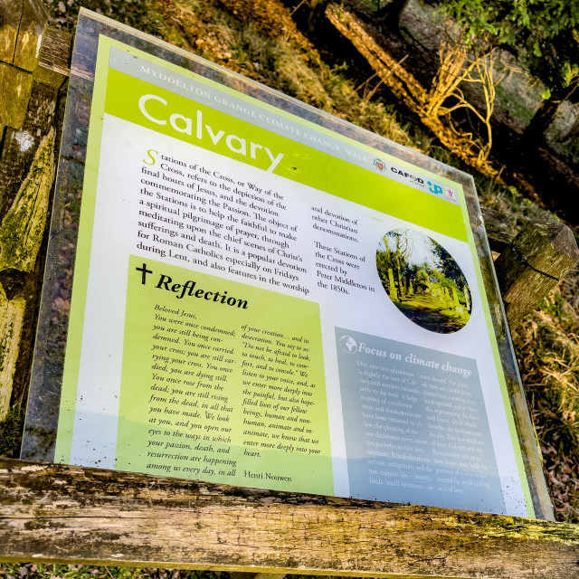 """Calvary, Stations of the Cross, Ilkley, West Yorkshire, England. An introduction/information board."" stock image"