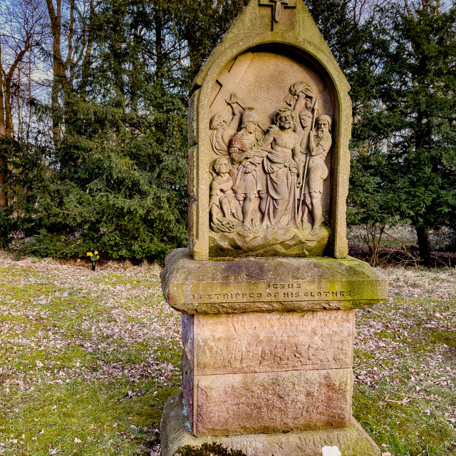 """""""Calvary, Stations of the Cross, Jesus is stripped of his clothes. Ilkley, West Yorkshire, England."""" stock image"""