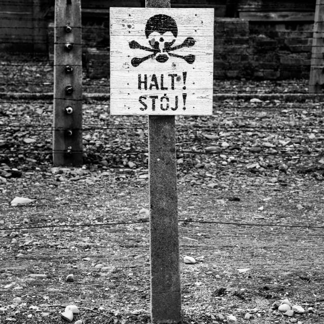 """Auschwitz 1 danger sign"" stock image"