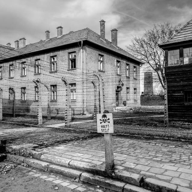 """Auschwitz 1 view showing Nazi staff quarters."" stock image"