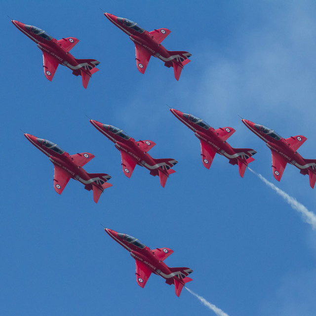 """""""7 Red Arrows"""" stock image"""