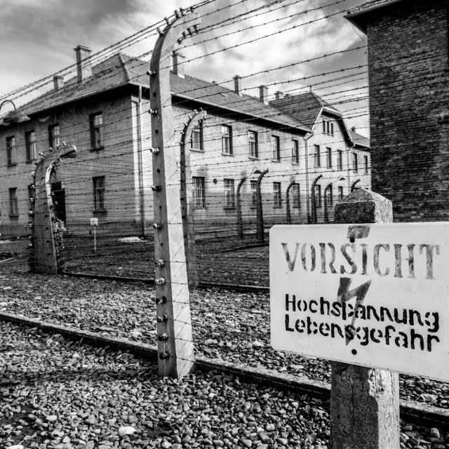 """""""Auschwitz 1 view showing the Nazi living quarters"""" stock image"""