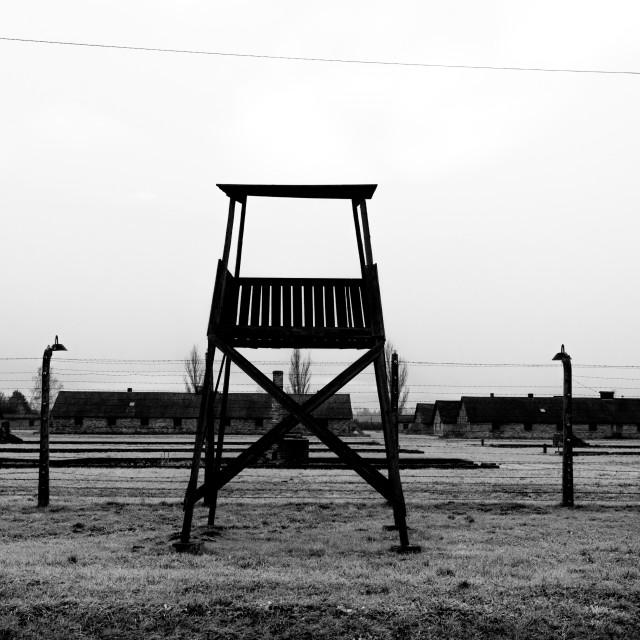"""""""Auschwitz - Birkenau (Auschwitz 2) Death Camp watchtower"""" stock image"""