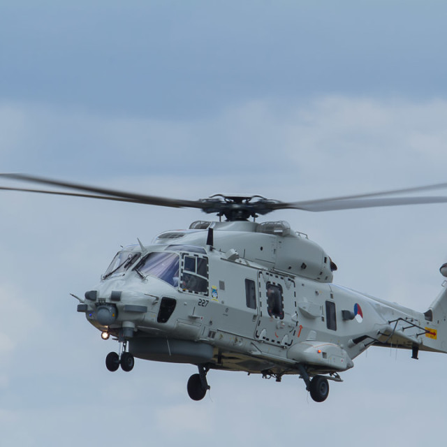 """""""A Royal Netherlands Navy NH-90 helicopter."""" stock image"""