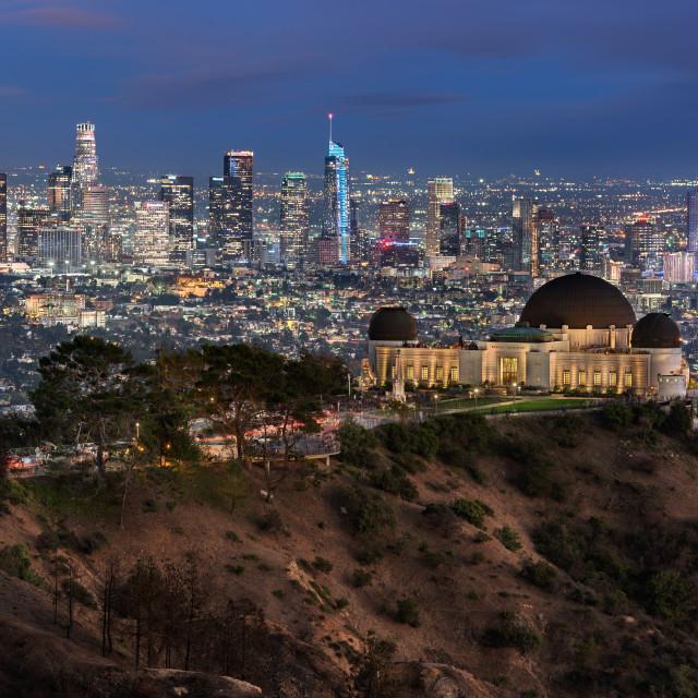 """Los Angeles skyline taken at dusk, Los Angeles, California, United States"" stock image"