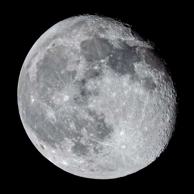 """""""Waning Gibbous Moon. 92% visible. Picture taken 31-03-21"""" stock image"""