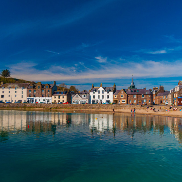 """""""Stonehaven Harbour - Spring Morning"""" stock image"""
