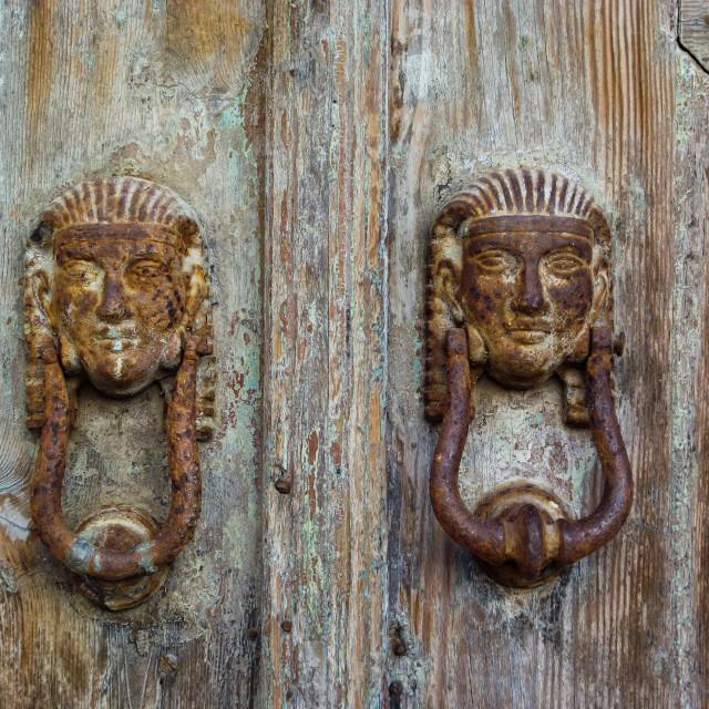 """""""Door Knockers"""" stock image"""