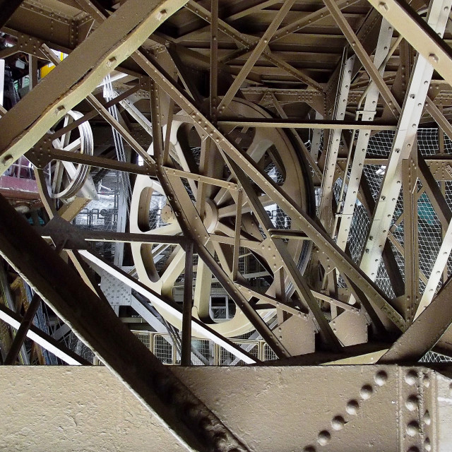 """""""Lift Gear in the Eiffel Tower"""" stock image"""