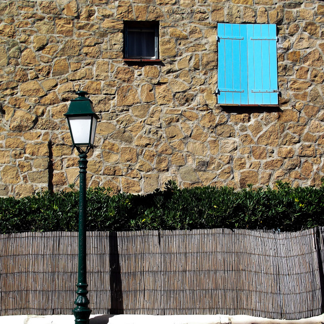 """Pale Blue Shutters"" stock image"