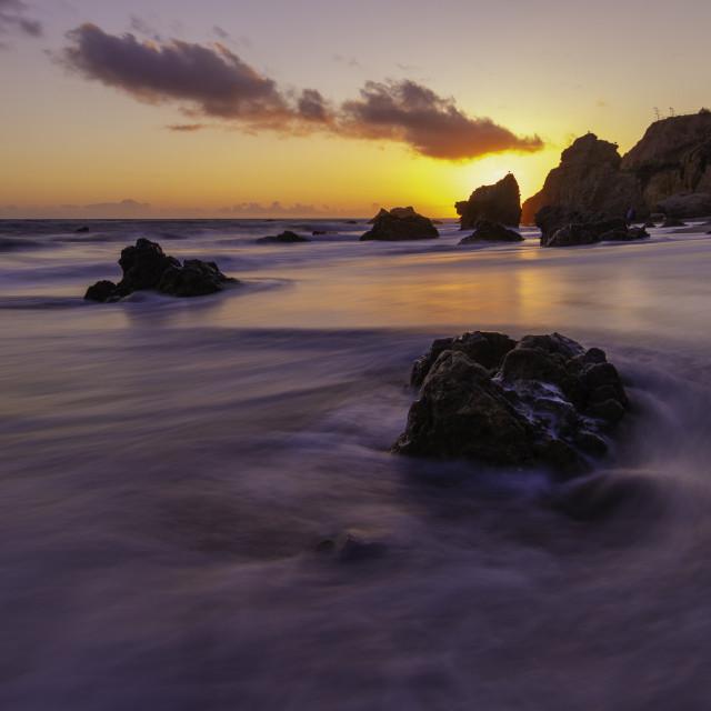 """Sunset along the Malibu coast"" stock image"