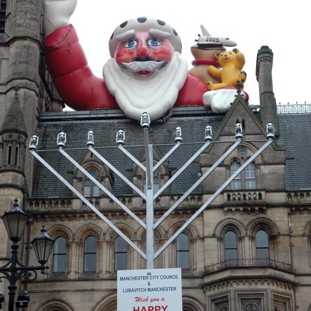 """Santa Claus and Jewish Menorah Manchester Town Hall"" stock image"