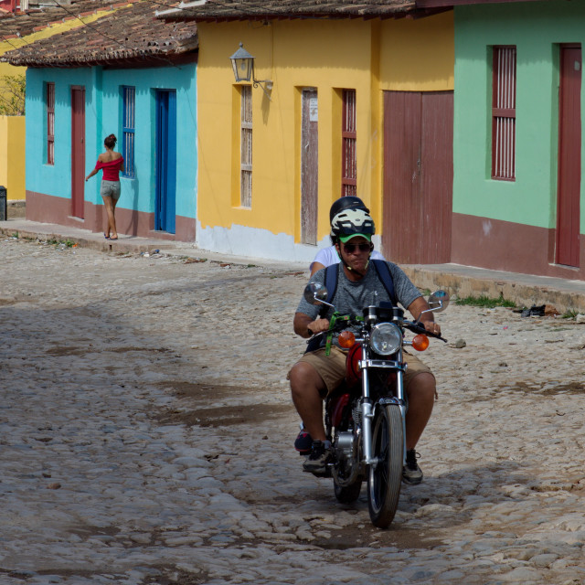 """""""Riding a bike in Trinidad"""" stock image"""