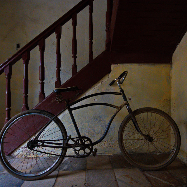 """""""Bike in a staircase"""" stock image"""