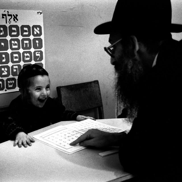 """Jewish boy learning Aleph Bais"" stock image"