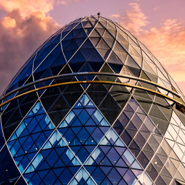 """Sunset on The Gherkin, London UK."" stock image"