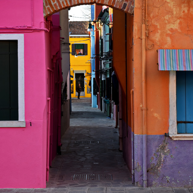 """""""Colorful street in Burano"""" stock image"""