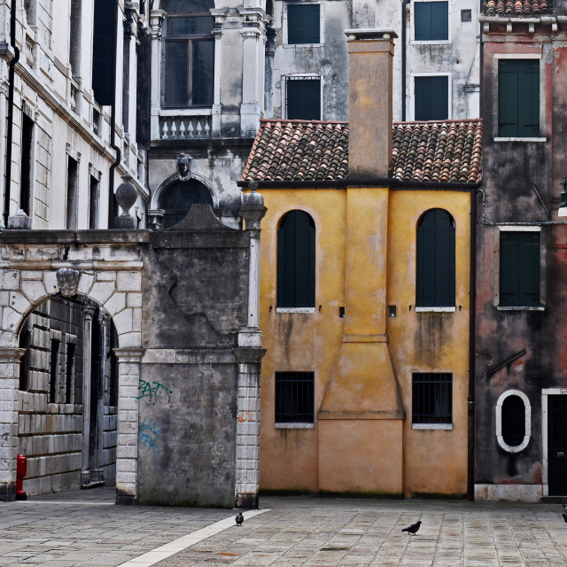"""""""Old houses on a venice square"""" stock image"""