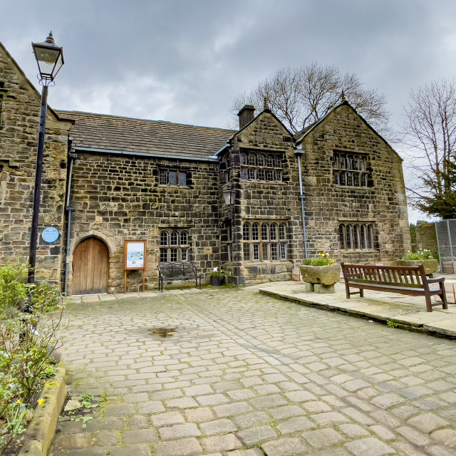 """Ilkley Manor House and Courtyard, Ilkley, Yorkshire, England."" stock image"