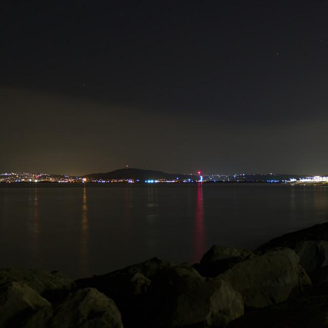"""Aberavon Beach at night"" stock image"