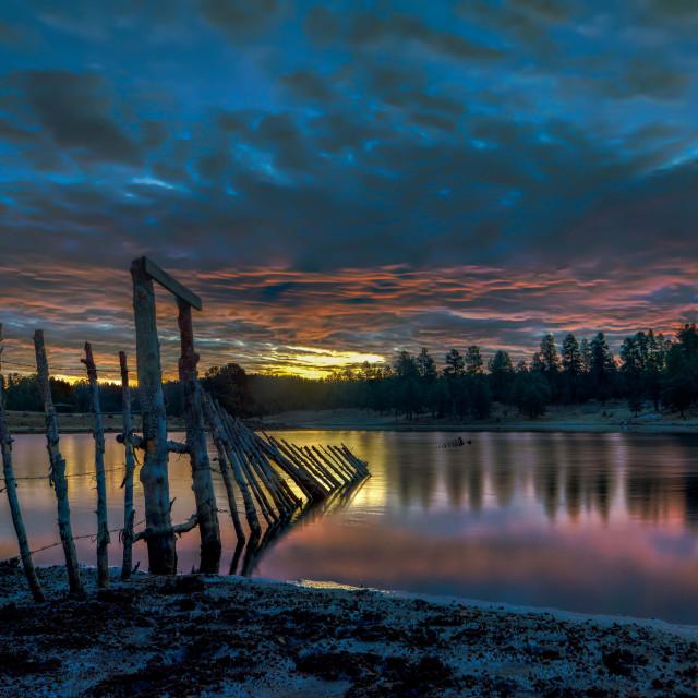"""""""lake-blue-hour-arizona-sunrise"""" stock image"""