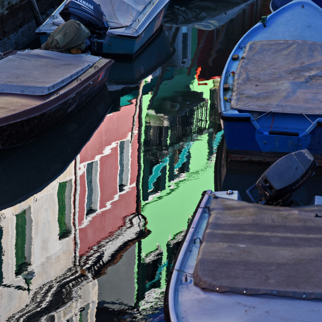 """""""Boats and reflexion in a Burano canal"""" stock image"""