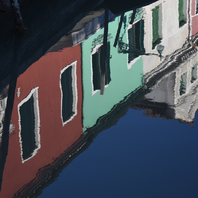 """""""Reflexion in a Burano canal"""" stock image"""