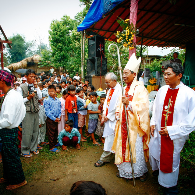 """""""Catholics in Myanmar - Kachin Village"""" stock image"""