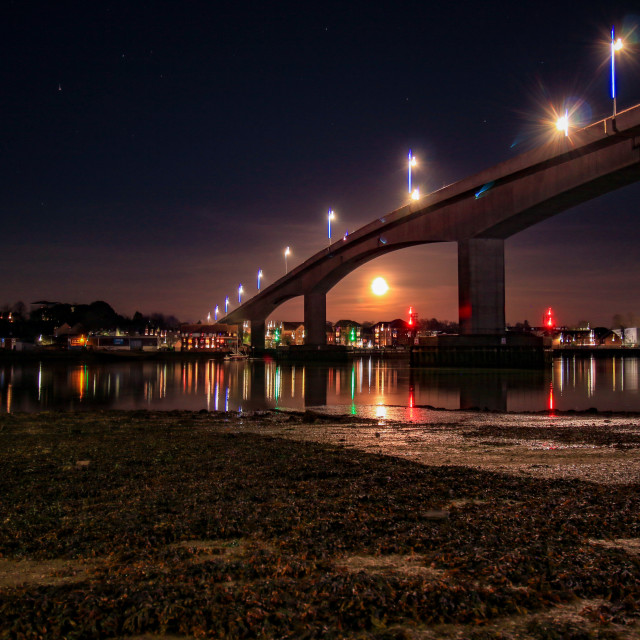"""""""Night on the Itchen"""" stock image"""