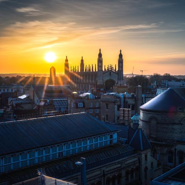 """Sunset over King's College Chapel, University of Cambridge UK."" stock image"