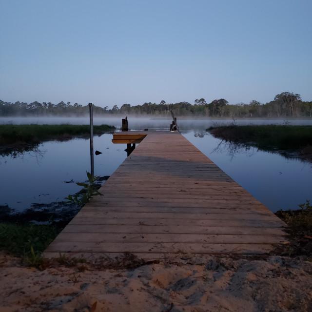 """""""Morning mist on Shaw Lake"""" stock image"""