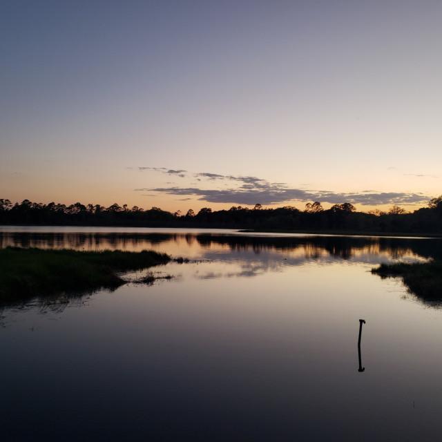 """""""Sunset on Shaw Lake"""" stock image"""