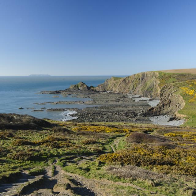 """""""Blegberry beach, North Devon"""" stock image"""