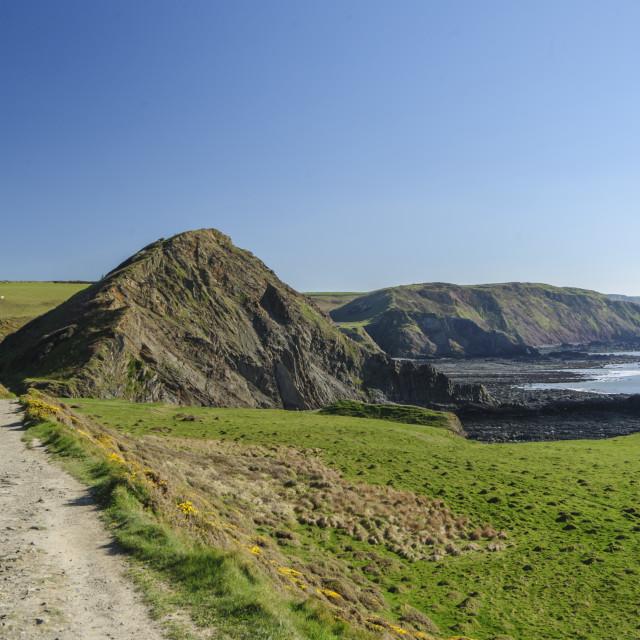 """St Catherine's Tor on the North Devon coast"" stock image"