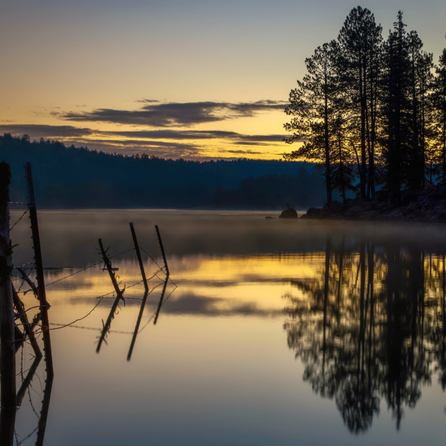 """""""lake-reflection-travel-sunrise-blue hour"""" stock image"""
