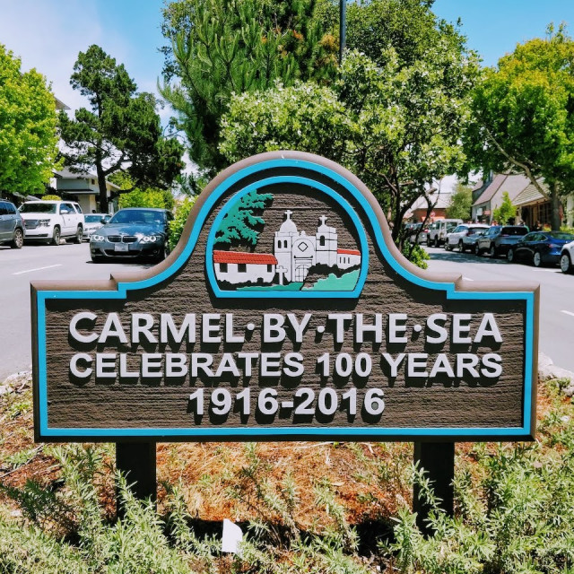 """""""Welcome to Carmel"""" stock image"""