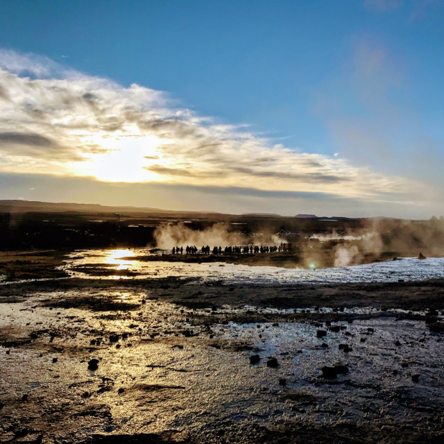 """Geyser Gathering"" stock image"