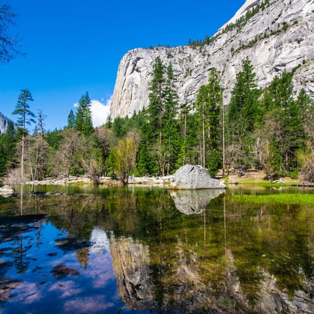 """Scenic image of Mirror Lake in Yosemite National Park"" stock image"