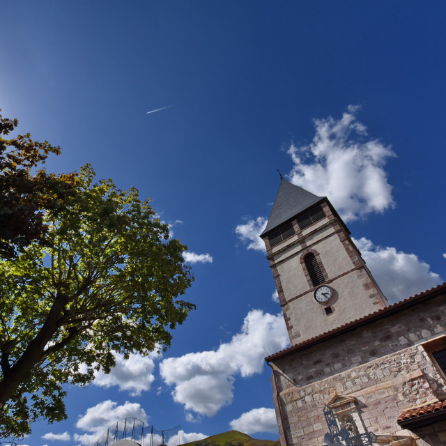 """""""Church tower and blue sky"""" stock image"""