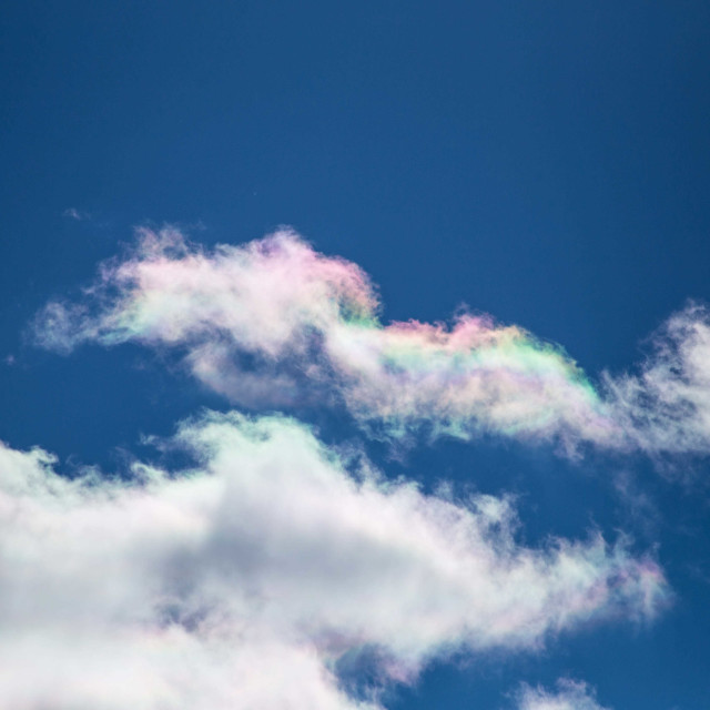 """""""Rare beautiful iridescent clouds in a blue sky"""" stock image"""