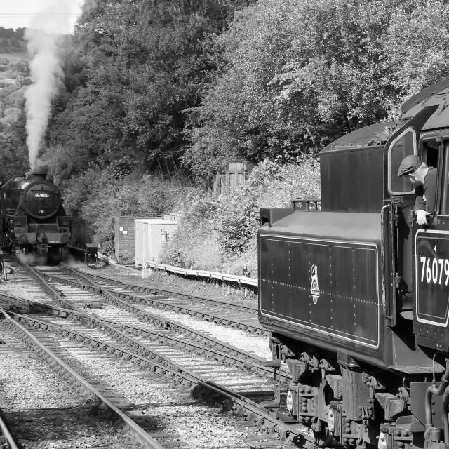 """""""76079 and 44806 at Grosmont"""" stock image"""