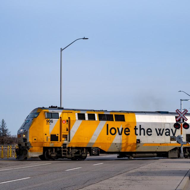 """Via Rail train crossing Woodroofe Ave in Ottawa"" stock image"