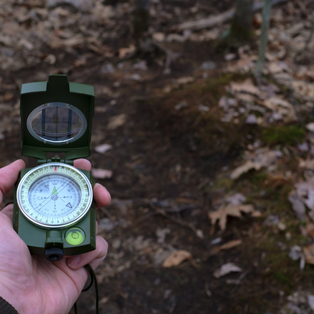 """""""Point of view using compass, pointing north"""" stock image"""