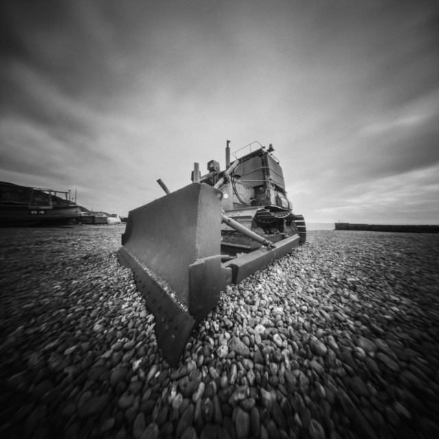 """Beach digger - Pinhole photo"" stock image"